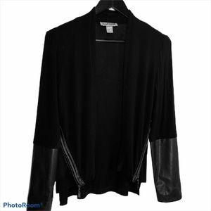 Joseph Ribkoff Jacket w/ Faux Leather Details